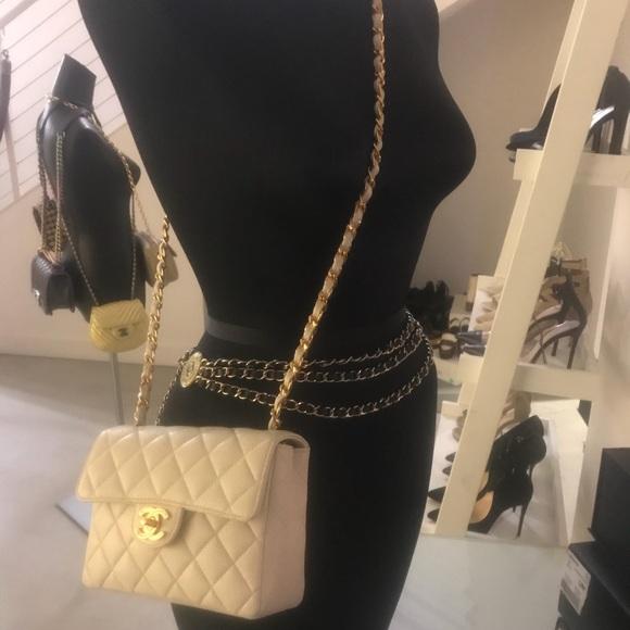 b4f41494a869 CHANEL Bags | Sold Auth Mini Beige Caviar Crossbody | Poshmark